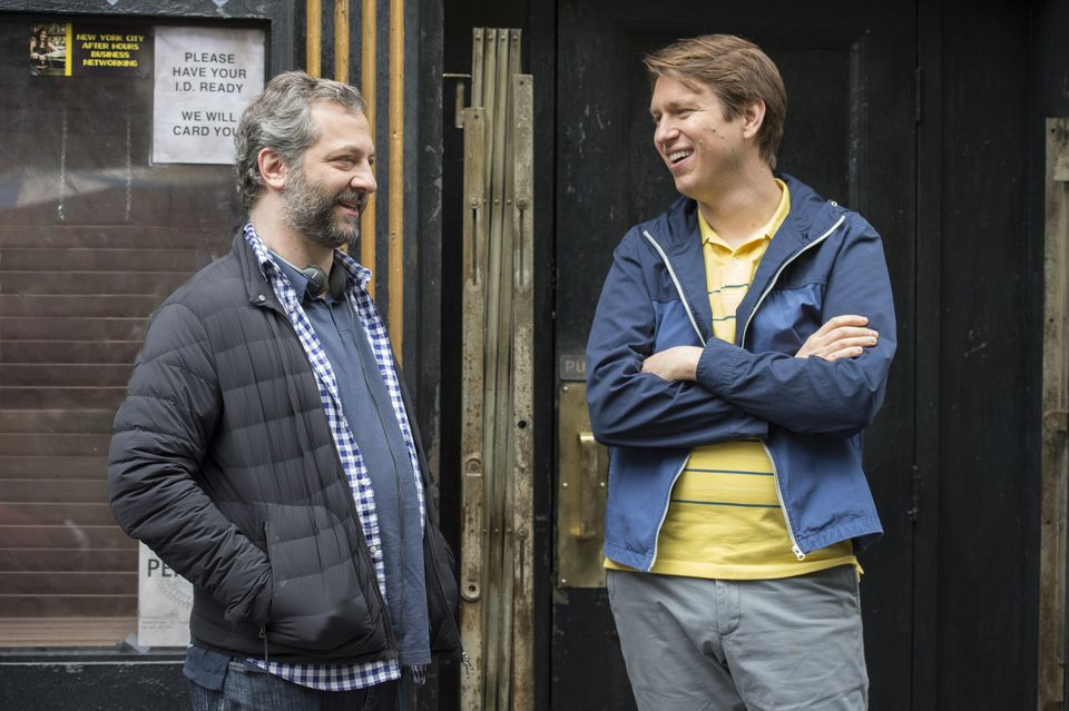 "Judd Apatow and Holmes on the set of ""Crashing"" during season 1."