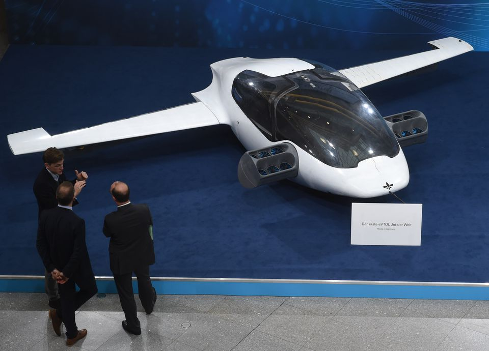 Visitors checked out a prototype of Lilium's flying taxi.