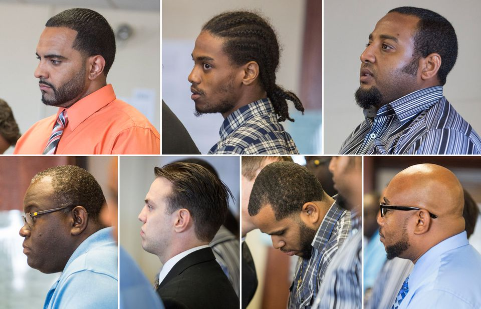 Clockwise from top left, Jalis Andrade, Hermano Joseph, Silvio DePina, Ainsley Laroche, Raymond Pizarro, Joseph Cintolo, and Wilkens Jeanty were arraigned Wednesday at Suffolk Superior Court in Boston.