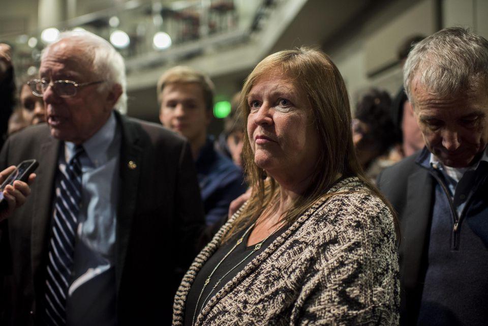 Jane Sanders, wife of Senator Bernie Sanders, stood near her husband after a rally in Iowa in 2015.