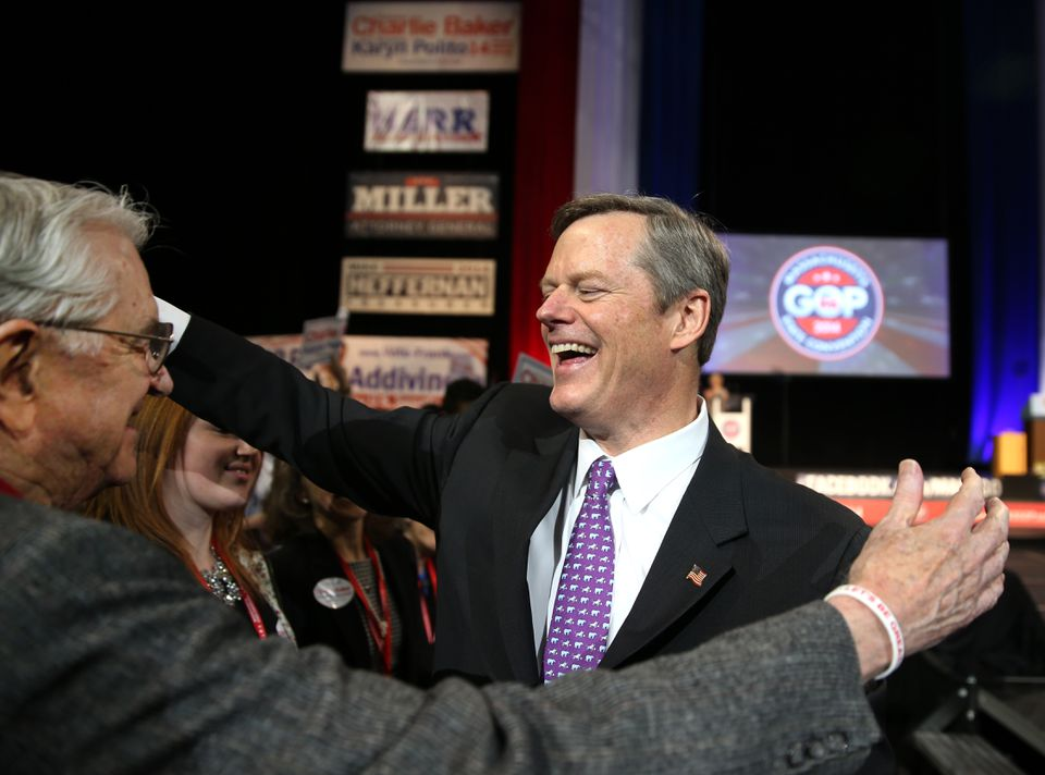 Republican candidate for governor Charlie Baker got a hug from his father, Charlie Baker Sr., after his speech.