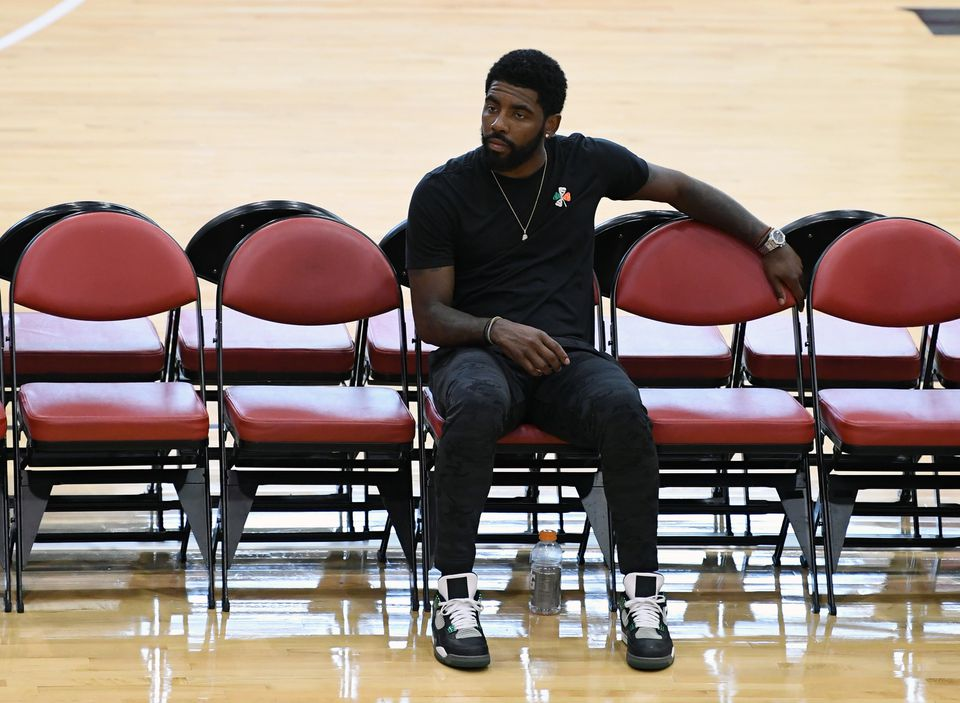Kyrie Irving watches a practice session at the 2018 USA Basketball Men's National Team minicamp last month in Las Vegas.