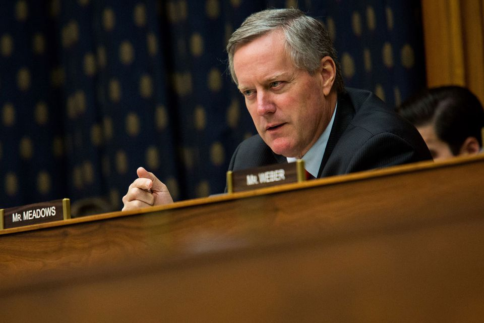 Conservative US Representative Mark Meadows of North Carolina, shown during a House subcommittee hearing on Capitol Hill, now represents the liberal area of Asheville, N.C., because of legislative redistricting.