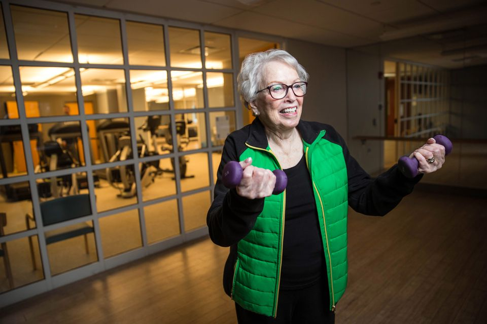 Orchard Cove resident Bea Lipsky exercises in the gym on her 89th birthday, working toward a yearly fitness goal set with a wellness coach.