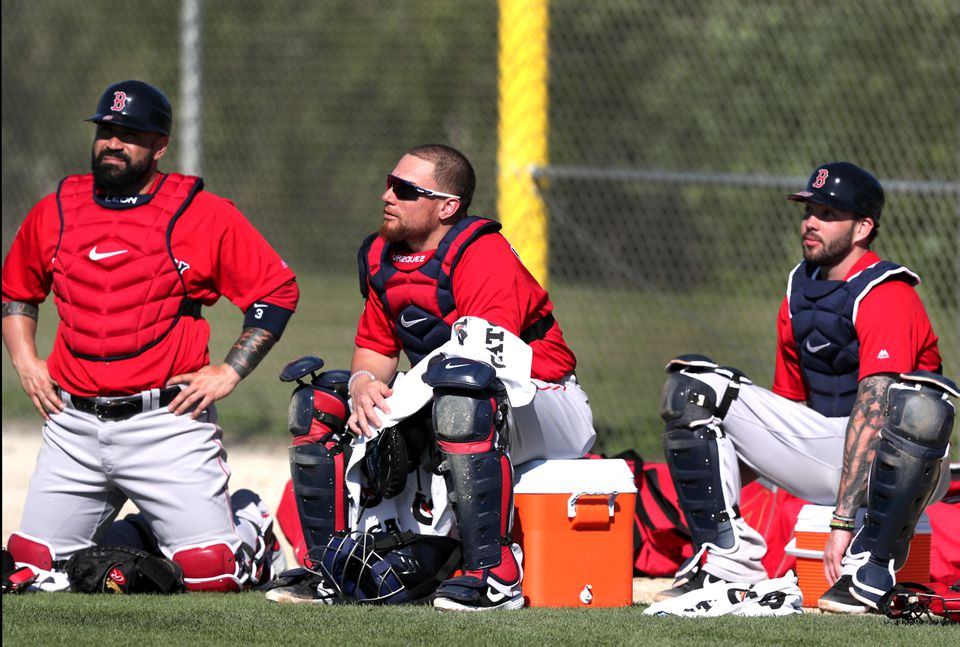 Sandy Leon, Christian Vazquez, and Blake Swihart during a spring training workout Sunday.