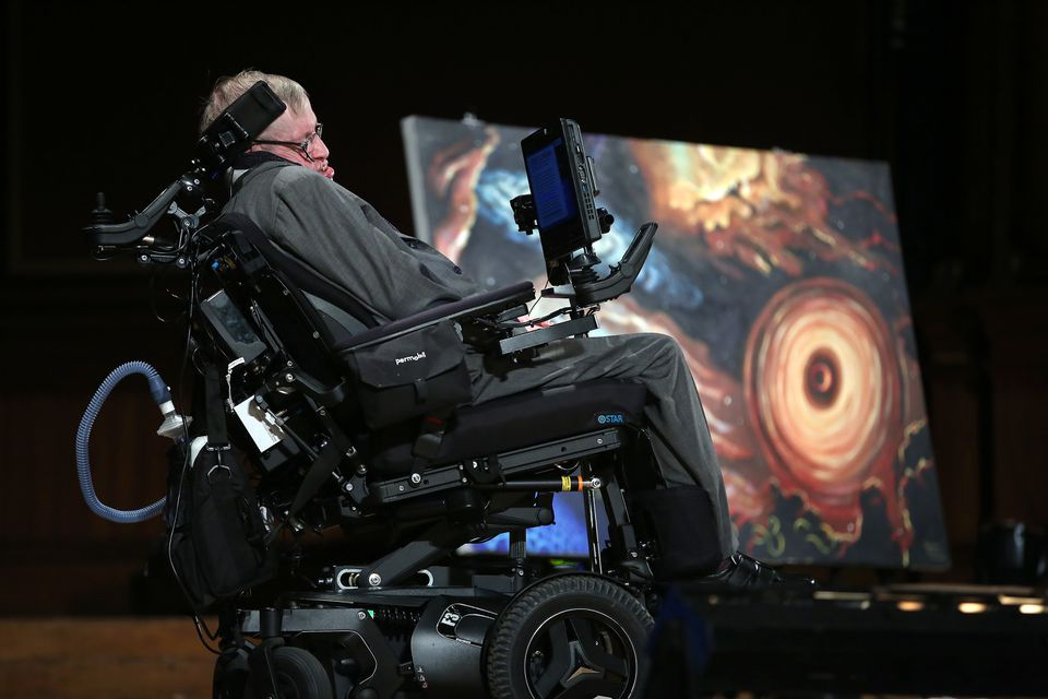 Professor Stephen Hawking spoke at Harvard's Sanders Theatre Monday on an array of interstellar topics.