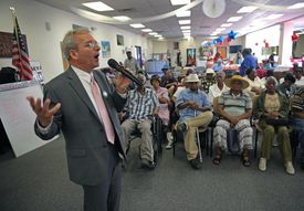 Long involved in city issues, Walczak spoke to seniors at a Dorchester Haitian center.
