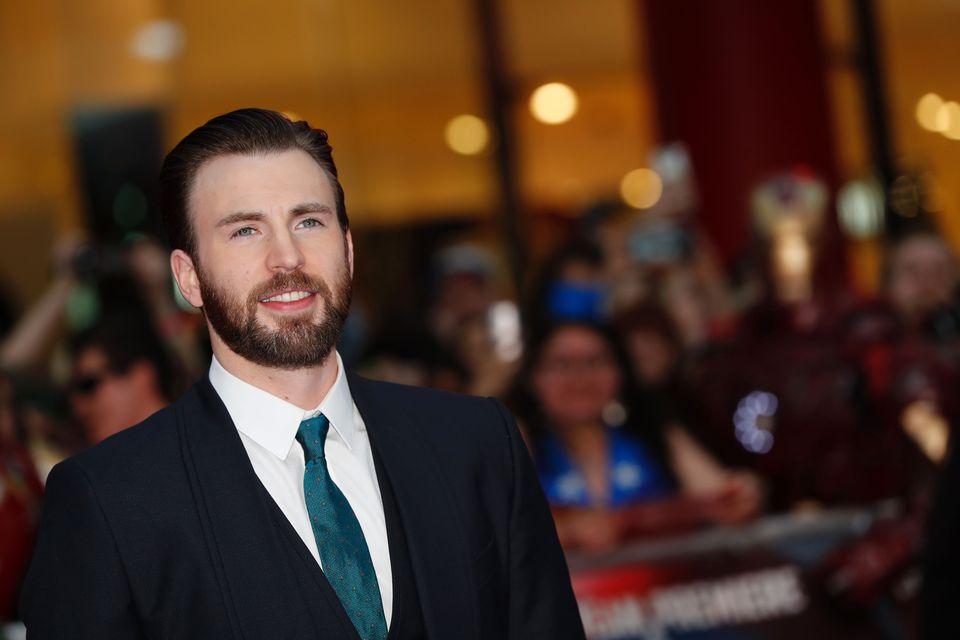 "Chris Evans in London in 2016 for the European premiere of ""Captain America: Civil War."""