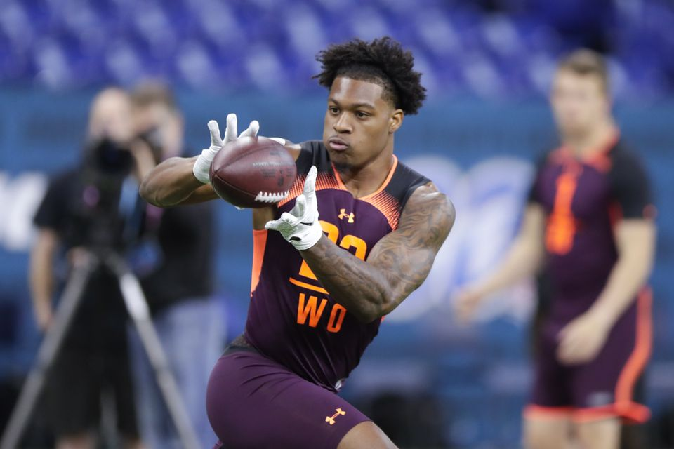 Arizona State wide receiver N'Keal Harry runs a drill during the NFL football scouting combine in Indianapolis last month.