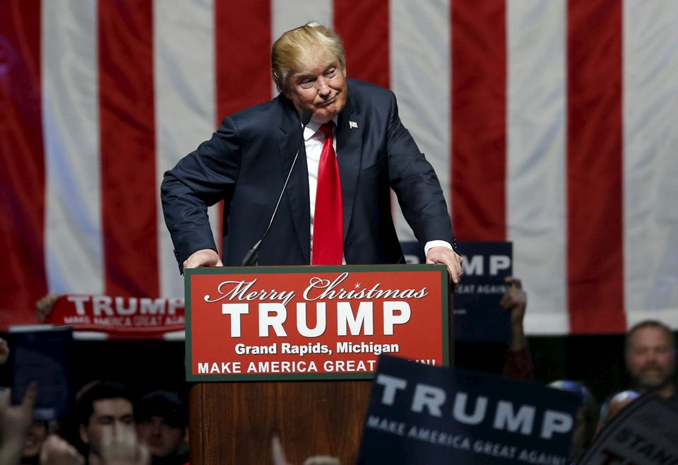 Donald Trump addressed the crowd during a campaign rally in Grand Rapids, Michigan, Monday.