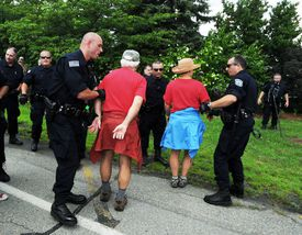 Anticoal protesters were arrested at Brayton Point in July 2013.