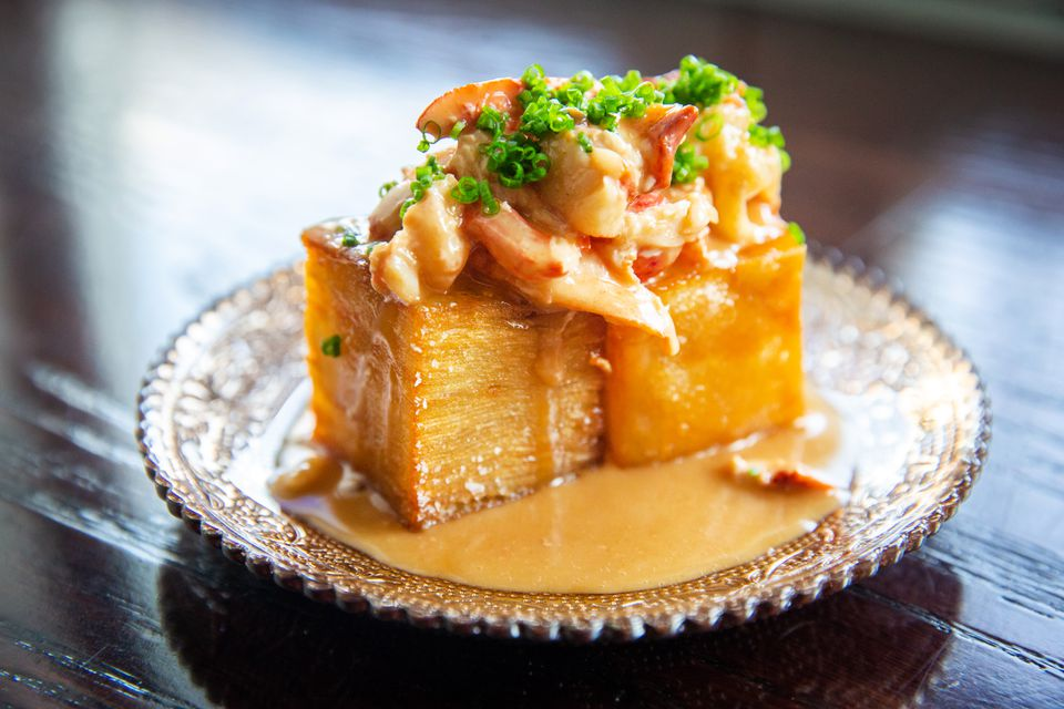 Crisped potato mille-feuille with lobster gravy at Fool's Errand.