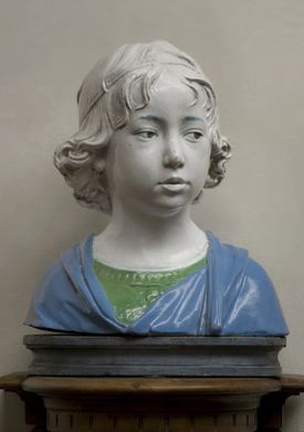 """""""Bust of a Young Boy"""" by Andrea della Robbia."""