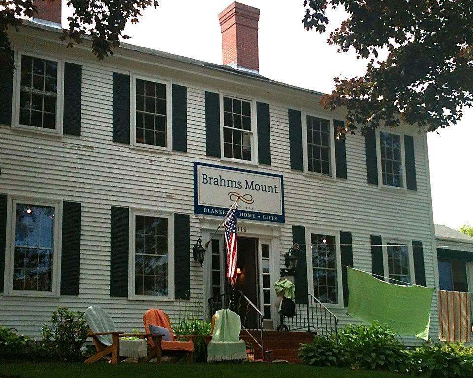 Brahms Mount in Freeport sells blankets and throws woven on antique shuttle looms.