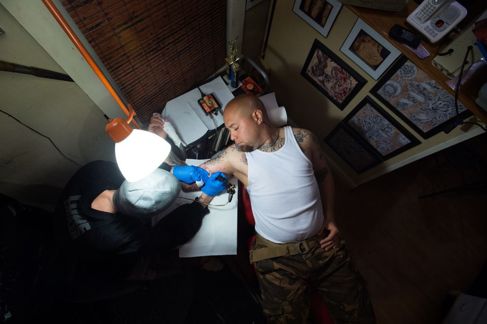 Gabriel Collazo Torres received a tattoo in memory of his brother, Daniel, in Fall River on April 27.