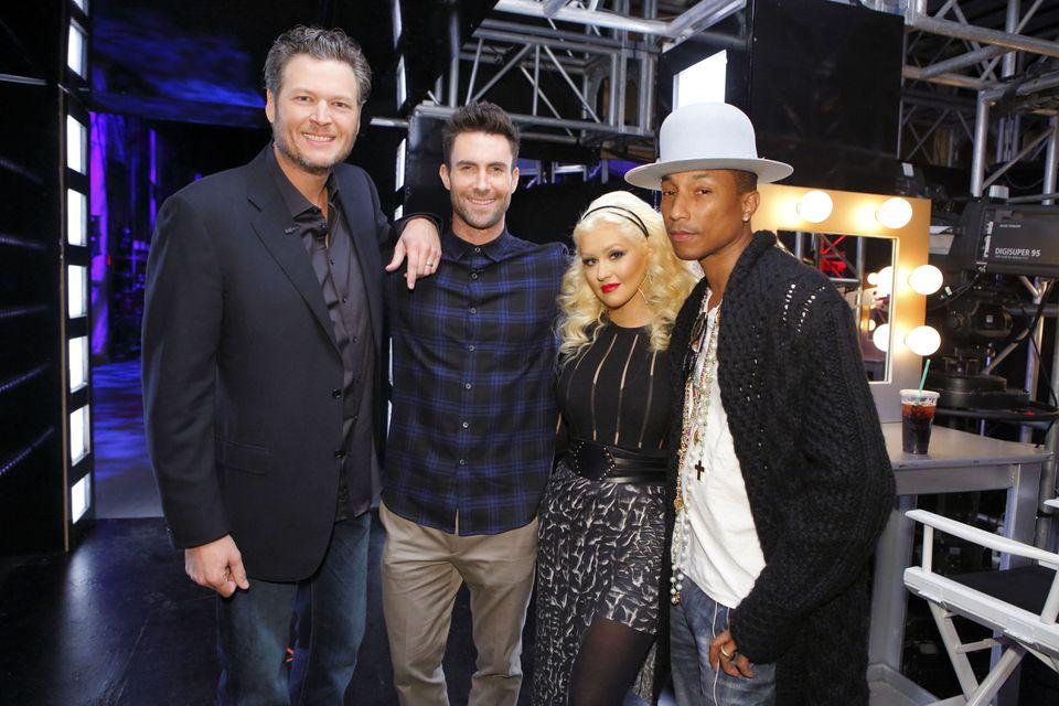 "From left Blake Shelton Adam Levine Christina Aguilera Pharrell Williams on the set of ""The Voice."""