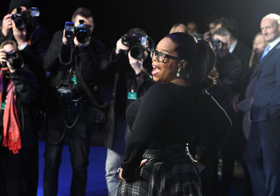 Oprah Winfrey on the red carpet in London for the European premiere of 'A Wrinkle in Time.'