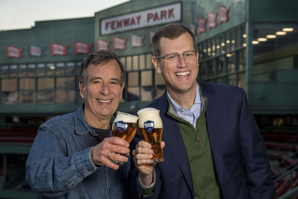 Boston Beer Co. founder Jim Koch (left) and Red Sox chief executive Sam Kennedy toasted over the new deal.