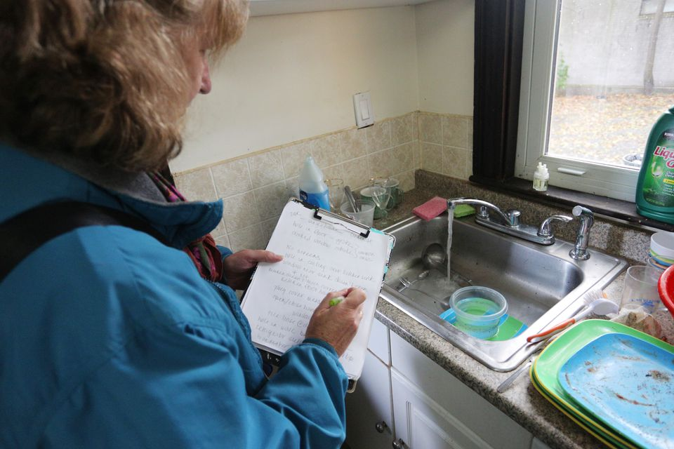 Rosemary Decie, a registered sanitarian and Globe consultant, found nearly 50 code violations -- including health and safety threats -- in a single afternoon at three student apartment units, including 25 at this one on Linden Street in Allston.