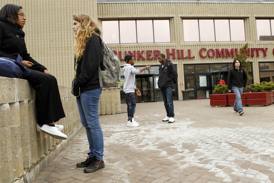 Students at Bunker Hill Community College in Charlestown.