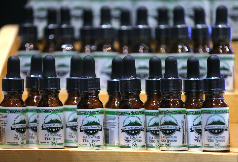 Bottles of CBD tincture from Vermont Pure CBD that were available for purchase at the National Cannabis Industry Association Seed to Sale convention.