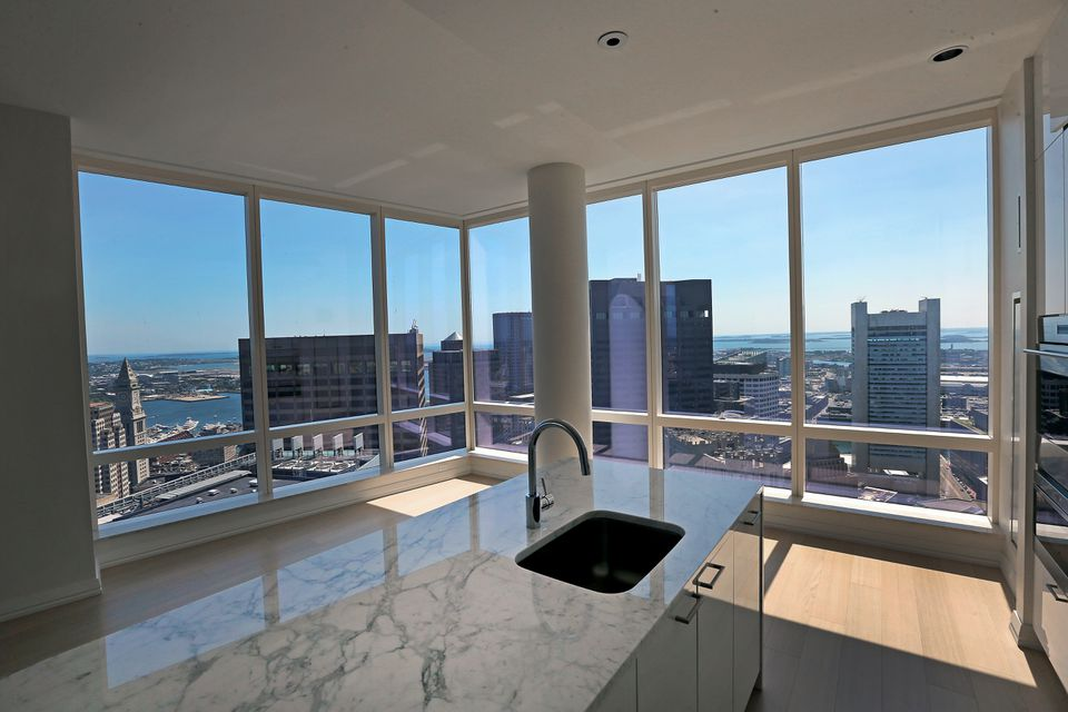 A corner unit on the 51st floor of the Millennium Tower offers sweeping views of Boston.