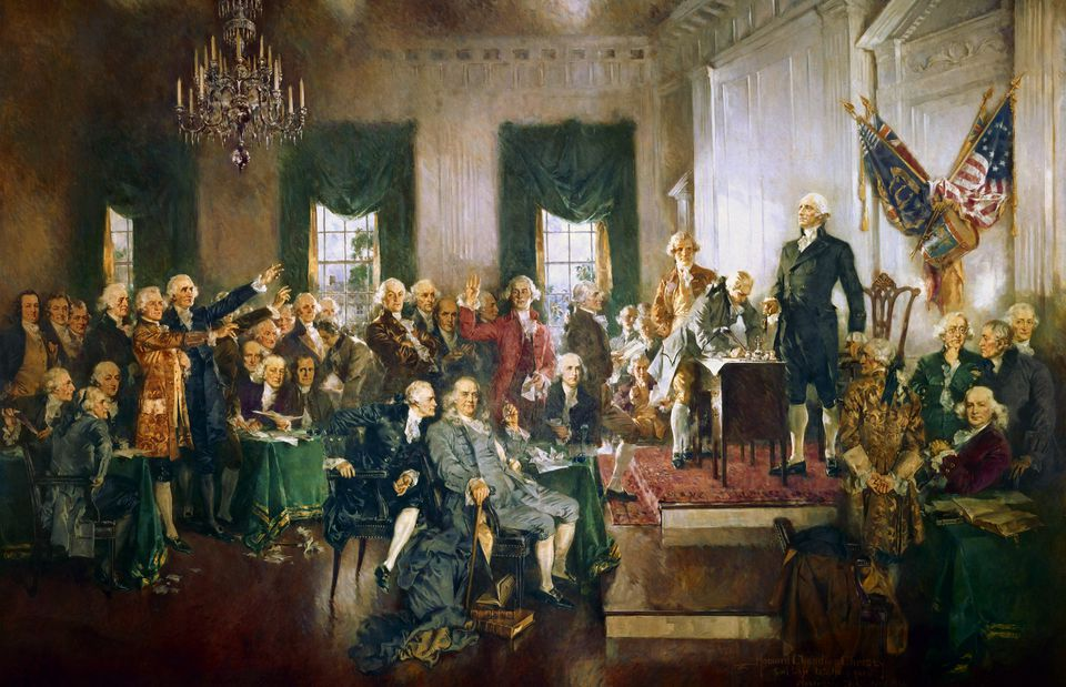 Howard Chandler Christy's painting of the signing of the United States Constitution.