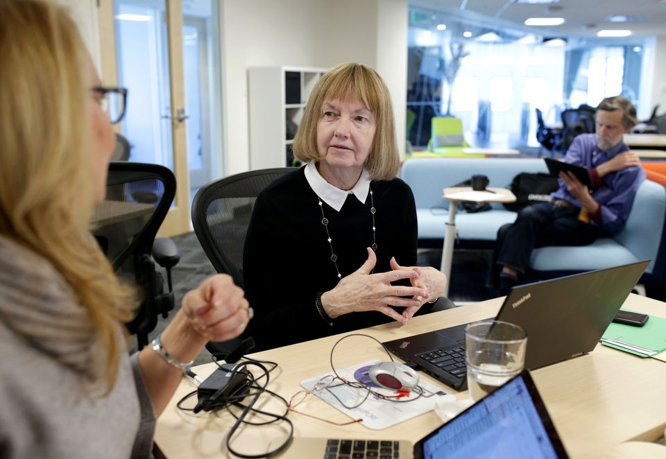 Cofounder Danielle D. Duplin (left) of Agency, an incubator in Kendall Square, met with entrepreneur Mary Cronin.