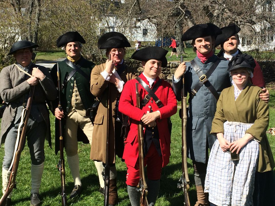 Reenactors at a prior Patriots Day celebration in Concord.