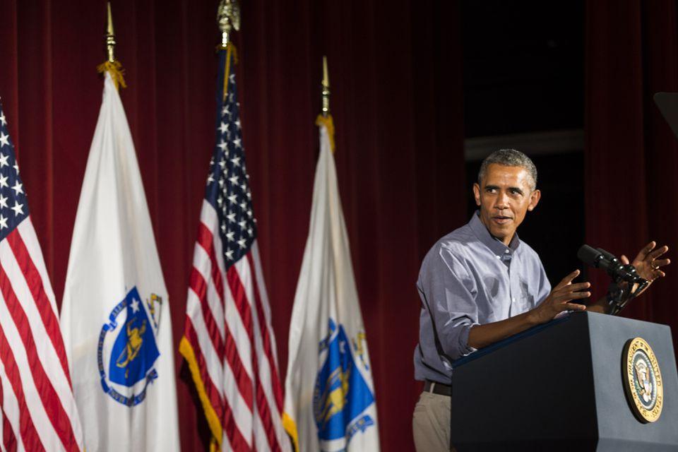 President Obama spoke during the AFL-CIO Labor Day breakfast in Boston.