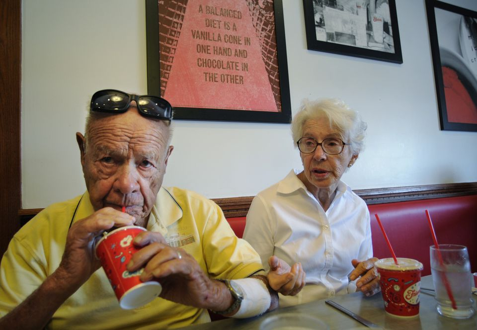 Friendly's co-founder Prestley Blake, 99, sips on a Fribble during an outing to the chain in Enfield, Conn. with his wife Helen.