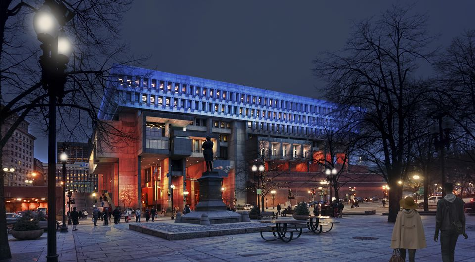"""A rendering of Boston City Hall with """"Patriots"""" colors from Faneuil Hall."""
