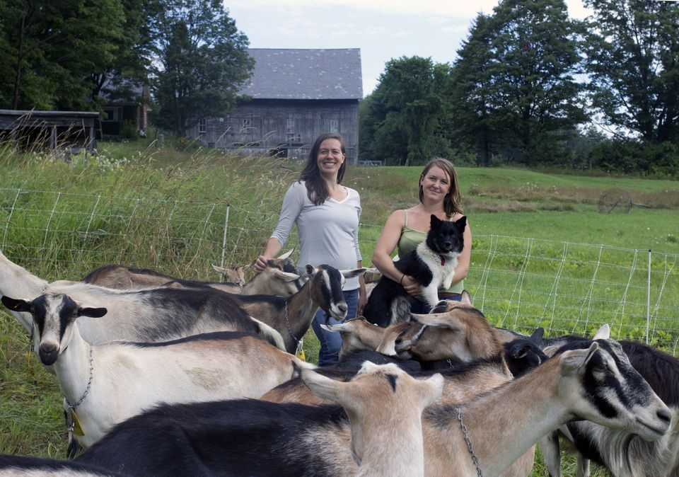 Hannah Reid and Calley Hastings with one of Fat Toad Farm's dogs and lots of its goats — whose milk is used to make the Mexican caramel sauce, cajeta, in copper cauldrons.
