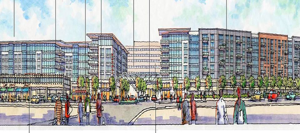 A sea of asphalt around the MBTA's North Quincy Station could soon become a mixed-use development.