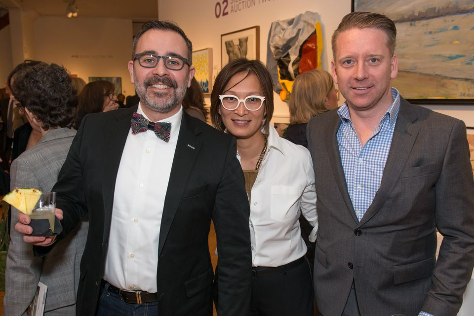 From left: Event sponsor Marc Wurbel, MassArt director of curatorial programs Lisa Tung, and event sponsor Jerome Urvoy