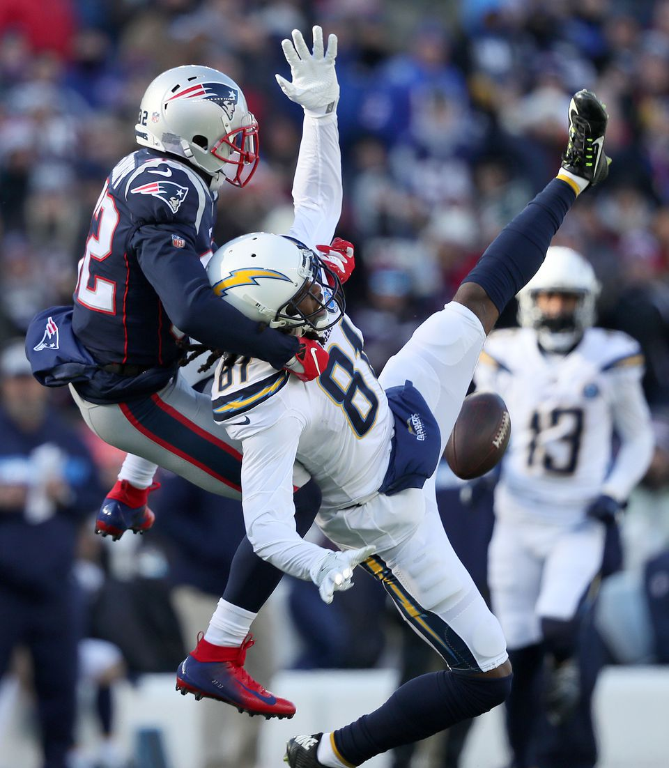Devin McCourty (left) covered Mike Williams when Williams couldn't come up with this pass on the Chargers' opening drive.