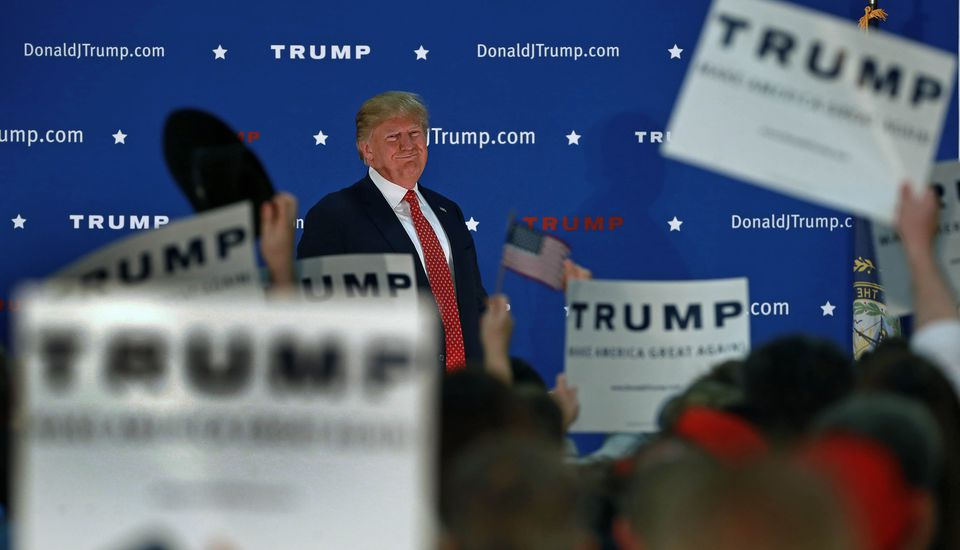 Donald Trump held a campaign rally at Pennichuck Middle School in Nashua Monday night.