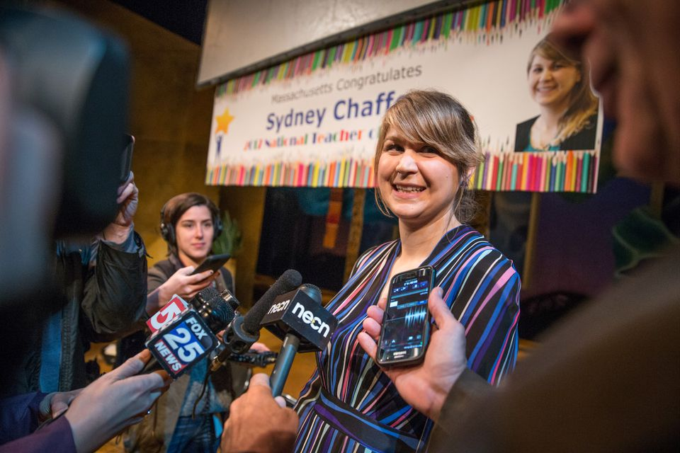 Sydney Chaffee spoke to the media in Boston during a ceremony honoring her as 2017 National Teacher of the Year.