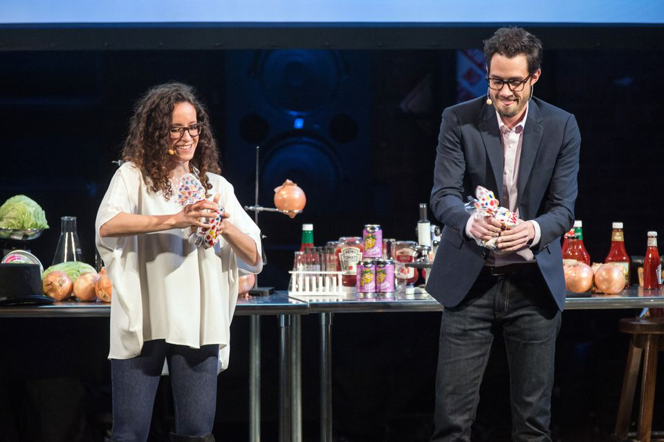 Molly Birnbaum and Dan Souza of Cooks Science at the Somerville Theatre.