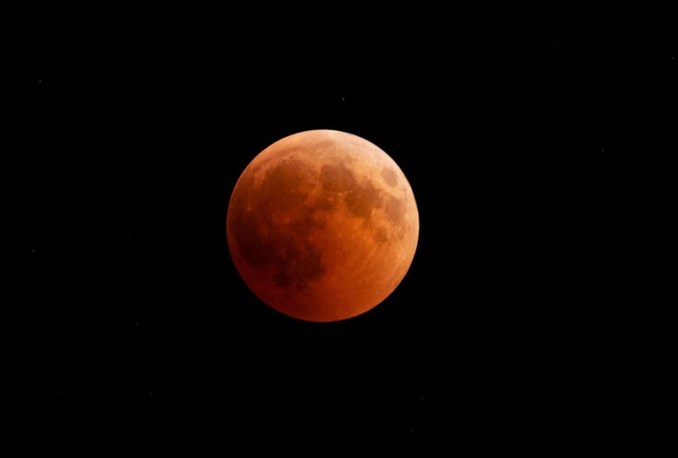 The moon turned red during a lunar eclipse in Canakkale, Turkey, in July.