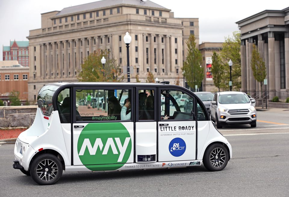 On Tuesday, the Rhode Island Department of Transportation began running a free shuttle service on autonomous electric minibuses along a five-mile route through the heart of Providence.