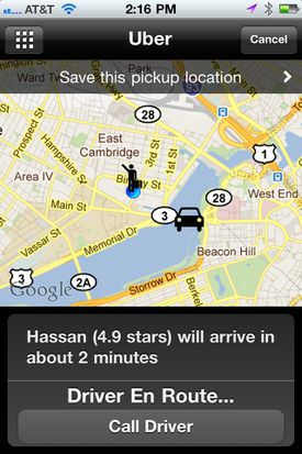 This screenshot shows the Uber smartphone app.