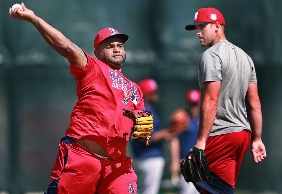 Sandoval was on the field with other Red Sox players, including Travis Shaw, who also took ground balls with him at third base.