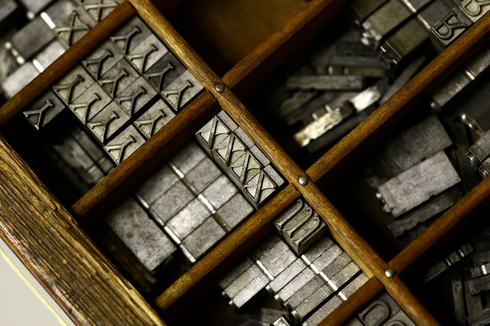 A drawer of letters used in printing called movable type, which originated with Johannes Gutenberg in Germany in the 1400s.