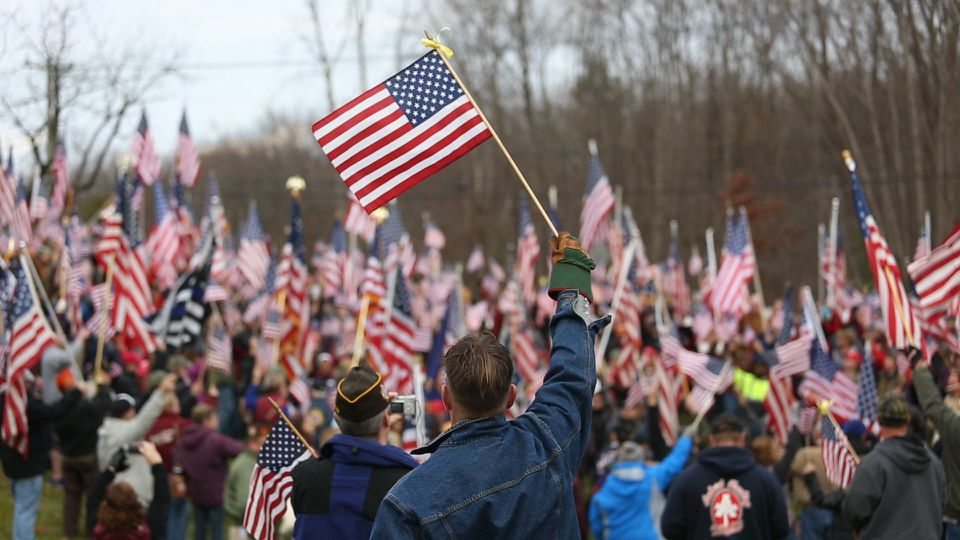 A demonstration organized by the Amherst VFW occurred Sunday at the college's entrance.
