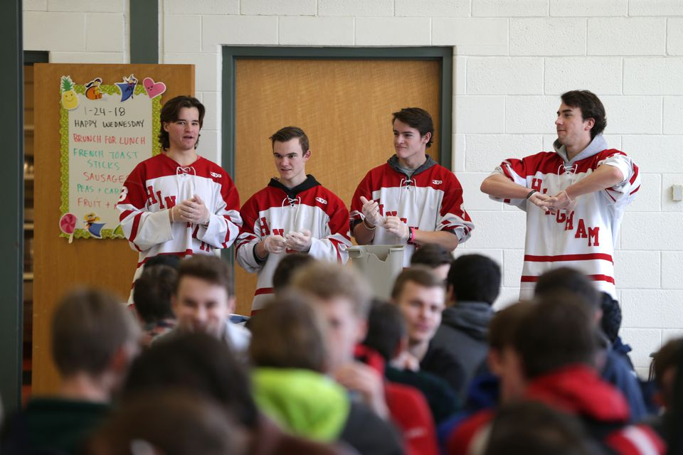 It didn't get busy for the hockey players until the lunch period was almost over.