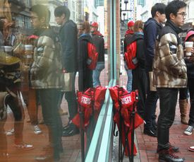 Sneakerheads waited outside Expressions in Boston in February to buy the just-released Jordan Infrared 6s.