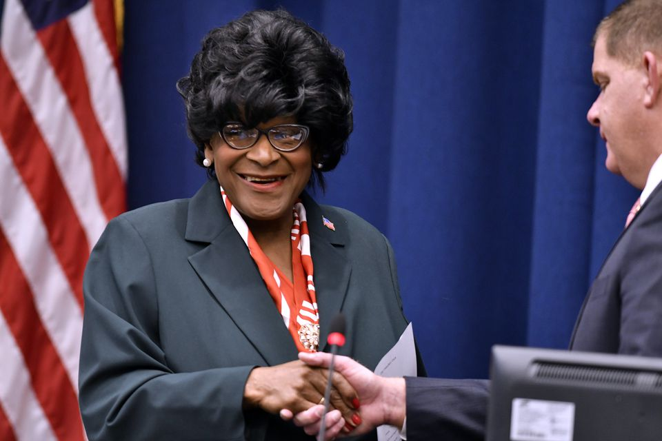 New City Councilor Althea Garrison, just three weeks after her unexpected ascension to her seat, received a standing ovation for her first proposal as councilor.