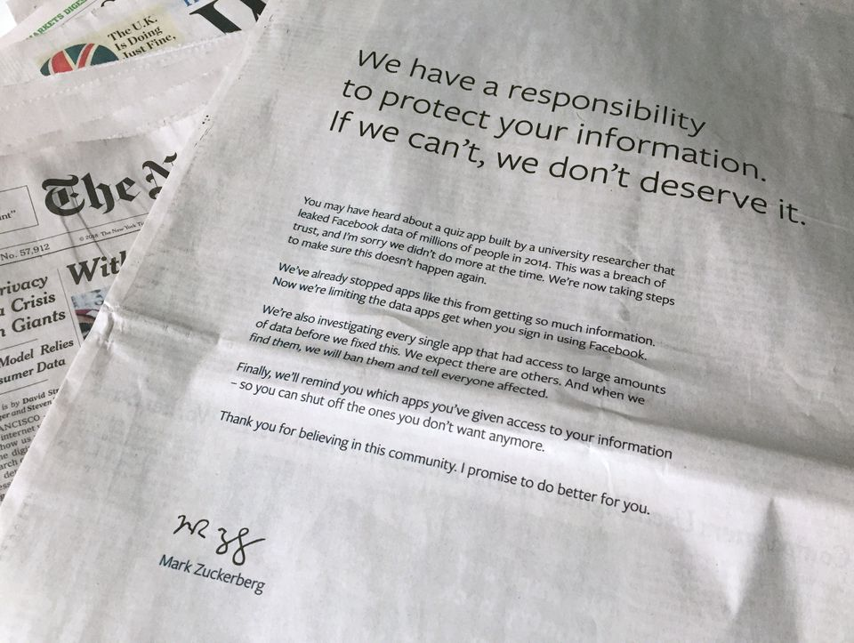 Zuckerberg apologized in March for the Cambridge Analytica Scandal in advertisements in some major newspapers.