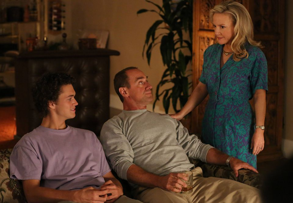 """From left: Connor Buckley, Christopher Meloni, and Rachael Harris in the new Fox comedy """"Surviving Jack."""""""
